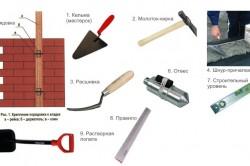 Инструменты для кладки кирпича.