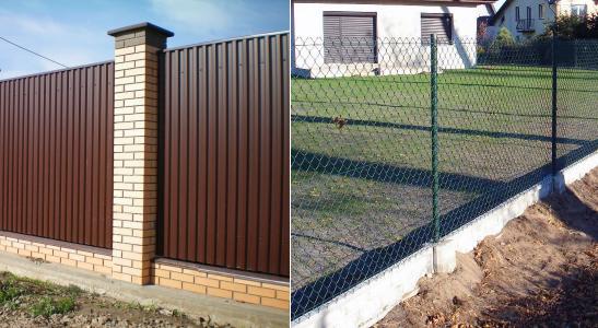 Забор из профнастила и сетки рабица