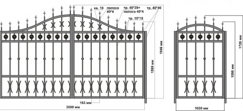 Схема кованых ворот с калиткой