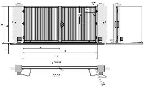 """Схема монтажа распашных ворот: H - уровень верхней кромки калитки относительно нулевой отметки; h- величина просвета, включая лежачий """"полицейский""""; A - высота створки; B - ширина проема; L - ширина створки"""