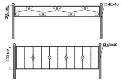 Схема забора для палисадника