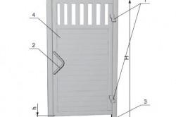 """Схема устройства калитки: 1 - петля; 2 - ручка; 3 - лежачий """"полицейский""""; 4 - створка; H - уровень верхней кромки калитки относительно нулевой отметки, включая верхнюю перемычку; h- величина просвета, включая лежачий """"полицейский""""; B - ширина проема"""