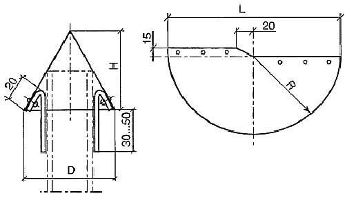 Схема изготовление колпака  на столб
