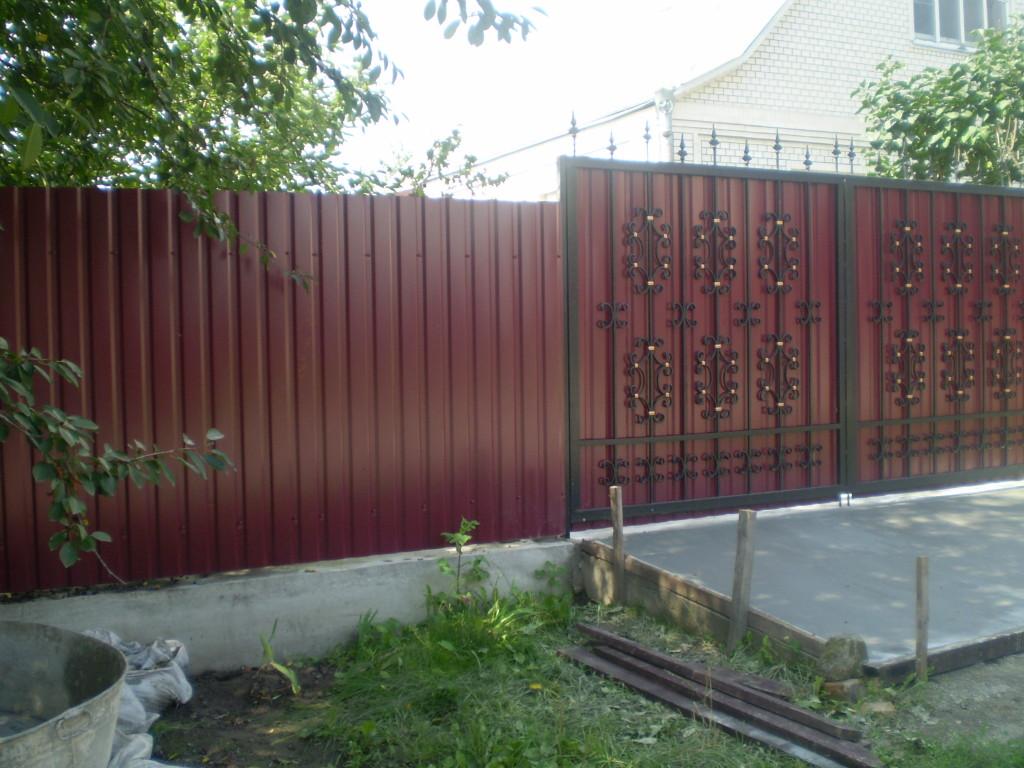 Ворота для забора из профнастила своими руками фото 173