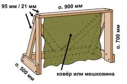 Простые хоккейные ворота из дерева и мешковины