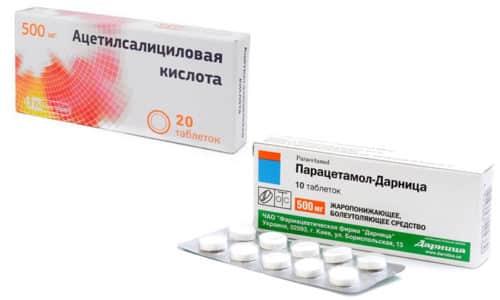 Парацетамол и Ацетилсалициловую кислоту используют для снижения пиретической температуры при лихорадке и для купирования болевых синдромов (головная, зубная, суставная и мышечная боль)