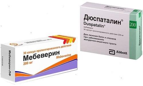 Мебеверин или Дюспаталин, применяются в симптоматической терапии пищеварительных расстройств