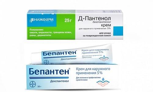 При лечении дерматологических заболеваний и различных повреждений кожи, в том числе ожогов и ран, используются препараты Бепантен и Д-Пантенол