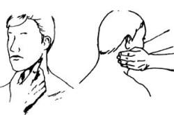 Пальпация подчелюстных лимфоузлов