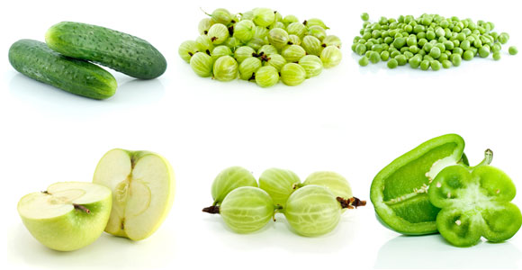 Зеленые фрукты и овощи